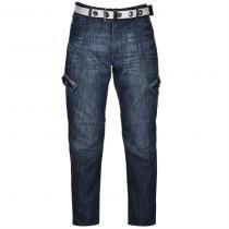 Airwalk Belted Cargo Jeans Mid Wash