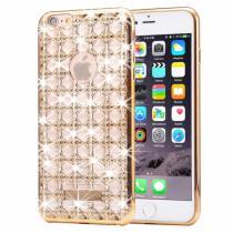 AppleKing ochranný zadní kryt s kamínky ve stylu diamantu a achátu pro iPhone 6/6S zlatý