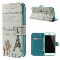 AppleKing peněženkové pouzdro se stojánkem pro Apple iPhone 6/6S Rilakkuma a Eiffelovka