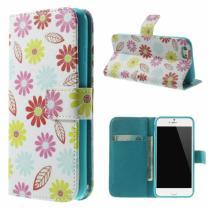 AppleKing peněženkové pouzdro se stojánkem a sloty na karty pro Apple iPhone 6/6S Květinový vzor