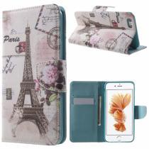 AppleKing otevírací obal/pouzdro na iPhone 6S/6 Eiffelovka s květinou