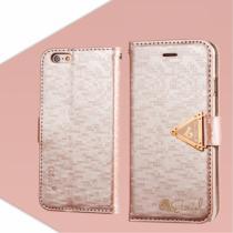 AppleKing otevírací obal/pouzdro s diamantovým leskem a magnetickým páskem na iPhone 6S/6 růžový