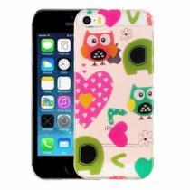 AppleKing kryt na iPhone 5/5S/SE výtvarné zpracování sovy a srdíčka