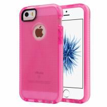 AppleKing poloprůhledný ochranný kryt na iPhone 5/5S/SE s tkanou texturou růžový