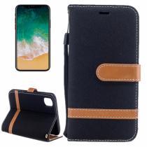AppleKing luxusní denim/riflový obal na iPhone X s prostorem na doklady a karty černý