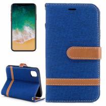 AppleKing luxusní denim/riflový obal na iPhone X s prostorem na doklady a karty tmavě modrý