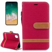 AppleKing luxusní denim/riflový obal na iPhone X s prostorem na doklady a karty červený