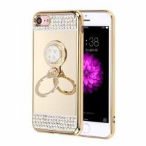 AppleKing luxusní zrcadlový kryt/obal s kamínky ve stylu diamantu a kruhovým držákem pro Apple iPhone