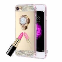 AppleKing luxusní zrcadlový kryt/obal s kamínky ve stylu diamantu a skrytým kruhovým držákem pro Apple