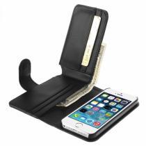 AppleKing kožené pouzdro se sloty na karty pro Apple iPhone 5/5S/SE černé