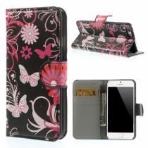 AppleKing otevírací pouzdro se sloty na karty pro Apple iPhone 6 /6S motýli a květiny