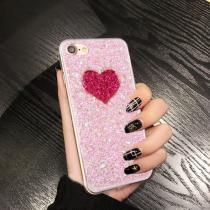 AppleKing třpytivý ochranný zadní kryt se vzorem srdce pro Apple iPhone 6/6S růžový
