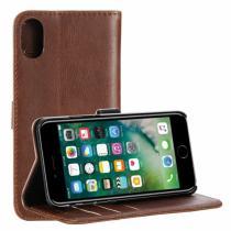 AppleKing cRAZY HORSE pouzdro se stojánkem a přihrádkami na doklady pro Apple iPhone X kávová