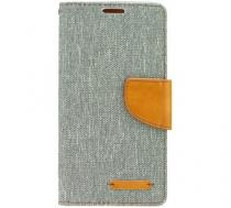 Canvas Diary flip Samsung Galaxy A3 2017 šedé/hnědé