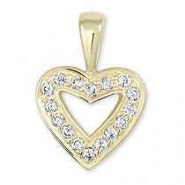 Brilio Zlatý přívěsek srdce s krystaly 249 001 00106 - 0,75 g