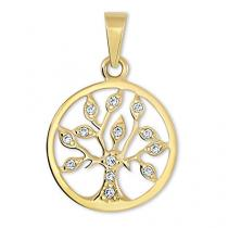 Brilio Zlatý přívěsek Strom života s krystaly 249 001 00442 - 1,05 g