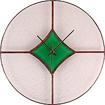 Hodiny VITRÁŽOVÉ 08 čirá-zelená-cín-stříbrný