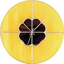 Hodiny VITRÁŽOVÉ 10 žlutá-hnědá-cín-stříbrný