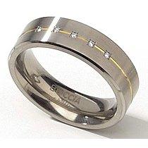 Mija Titanový Prsten s w Diamanty a Zlatem