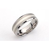 Mija Titanový prsten se stříbrným pruhem uprostřed