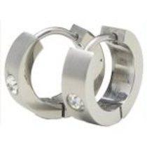 Naušnice kroužky matná s kamínkem ESH01