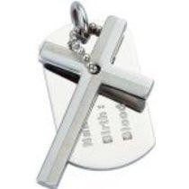 Přívěsek kříž s destičkou PSDT01
