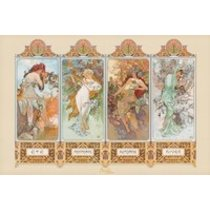 POSTERS ALFONS MUCHA čtvero ročních období plakát 91 x 61 cm