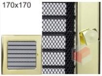 Kratki - Krbová mřížka 17x17cm pozlacená s žaluzií
