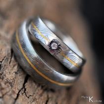 Snubní prsteny damasteel zlato diamant - GODA