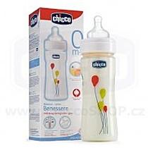 Chicco Lahvička 250 ml sklo + silikonový dudlík