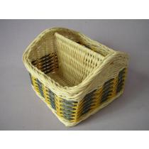 Košík ratanový dělený žlutomodrý