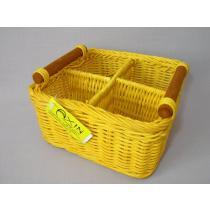Košík ratanový dělený žlutý