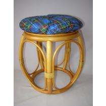 Ratanová taburetka široká medová s polstrem modrým