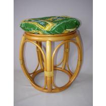 Ratanová taburetka široká medová s polstrem zeleným