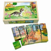 Bino Obrázkové kostky domácí zvířata 15 ks