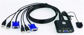 Aten CS-22U 2-port KVM USB mini, 1m kabely, DO
