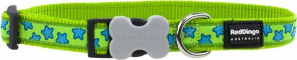 Obojek Red Dingo - Stars Turquoise on Lime Green 1,2 cm x 20 - 32 cm